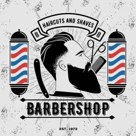 Barbershop   design concept with barber pole