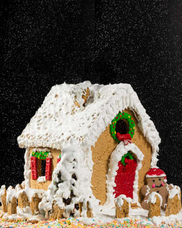 Christmas, new year house shape cake, snowing