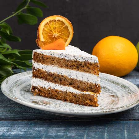 Tasty lemon cake with leaves 写真素材
