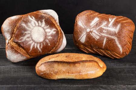 Tasty breads, loaves close up 免版税图像