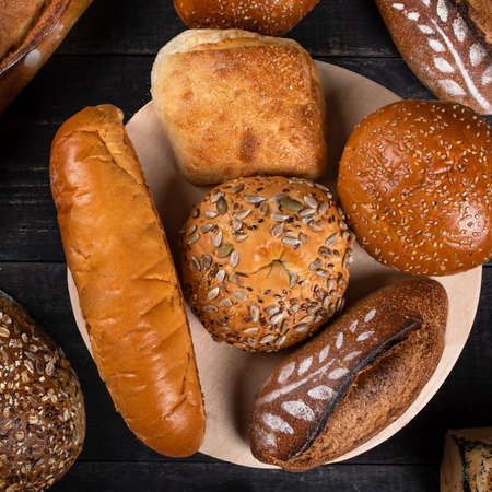 Tasty breads, loaves, top view