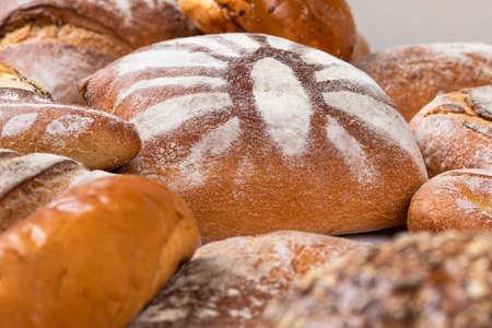 Tasty breads with flour 免版税图像