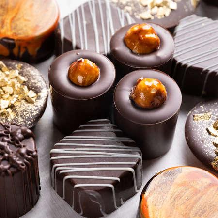 Tasty chocolate pieces close up