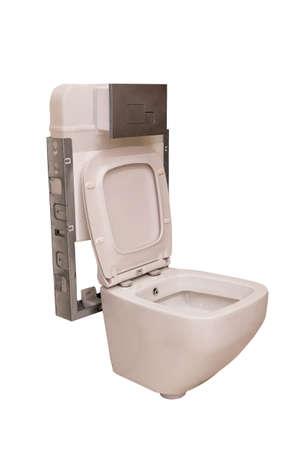 New clean white ceramic toilet bowl with white background Archivio Fotografico