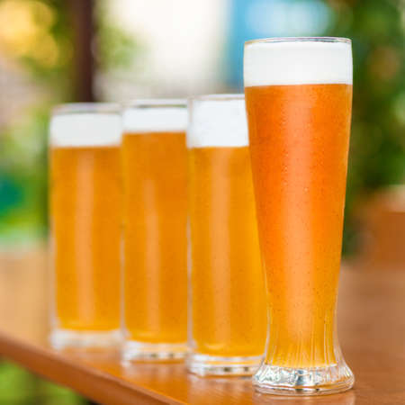 Beer mugs, glasses side by side with green background
