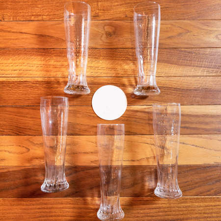 Empty beer drink mugs, glasses on the table from top 스톡 콘텐츠