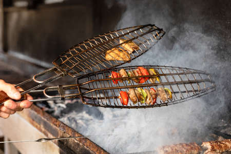 Tasty fried smoked vegetable, potato