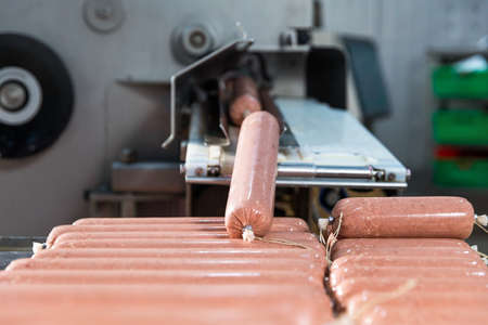 Making of Sausage, salami product, meat industry, machine 스톡 콘텐츠