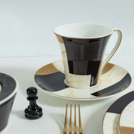 New luxury cup for tea close up