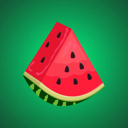 3D Watermelon slice vector with green gradient background