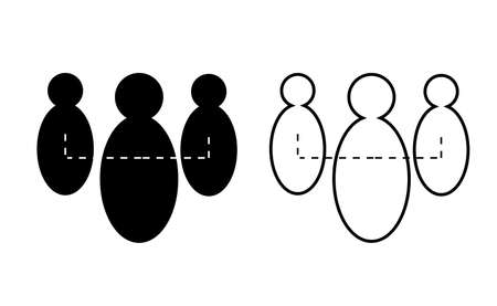 People connection, team linear icon vector, black and white version