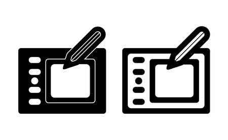 Graphic tablet linear icon vector, black and white version