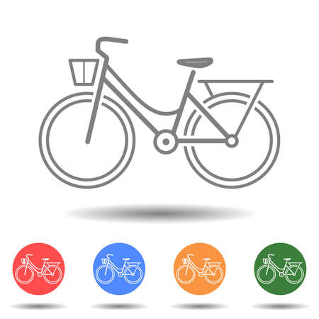 Woman bicycle icon vector isolated on background