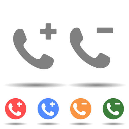 Add or remove call icon vector isolated on background Vektorové ilustrace