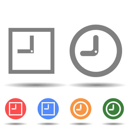 Rectangle and round clock icon vector isolated on background