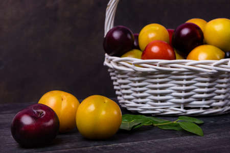 Colorful plums fruit in basket on the black background isolated 免版税图像