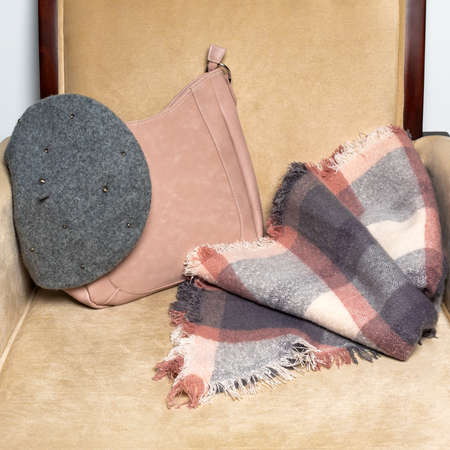 Woman winter clothing hat bag scarf 免版税图像