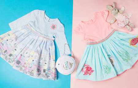 Summer Baby Girls Lace Layers Plaid Dress, Kids Princess Birthday Dresses Clothes top view 免版税图像 - 156135534