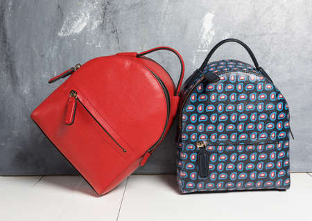 Red and blue woman backpacks isolated 免版税图像 - 156135252