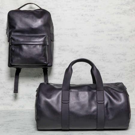 Black man handbag and backpack isolated 免版税图像 - 156135164