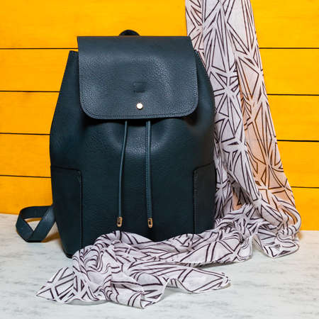 Black woman backpack with a scarf isolated 免版税图像 - 156135239
