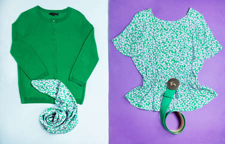 Green woman top outfit wear top view