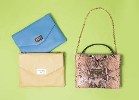 Leather color woman handbags isolated on a green background 免版税图像 - 156135222