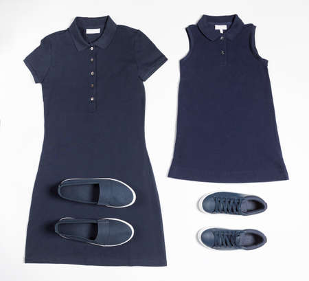 Blue woman sportswear with a shoes top view 免版税图像 - 156135175