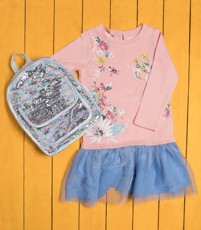 Pink girl dress with a shiny backpack top view 免版税图像 - 156134990
