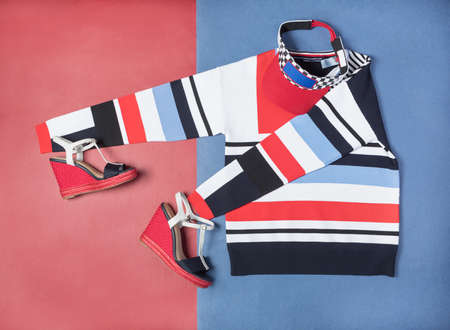 Striped woman clothing set top view