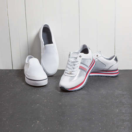 White sneakers, man shoes isolated 免版税图像 - 156197367