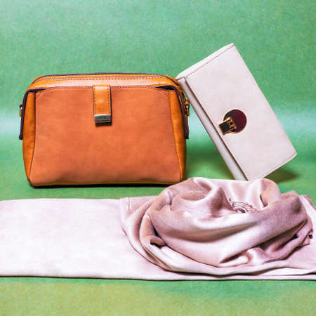 Leather color woman handbags isolated on a green background 免版税图像 - 156197161
