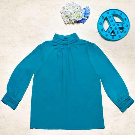 Stylish blue female sweater on white background 免版税图像 - 156279497