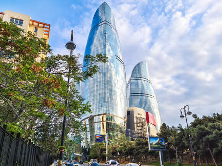 Baku / Azerbaijan - 09-15-2020: Baku Flame Towers view from bottom 免版税图像 - 156210328