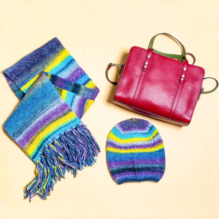 Colorful woman scarf hat and red handbag isolated 免版税图像 - 156279506