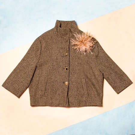 Brown color woman autumn coat isolated 免版税图像 - 156253297