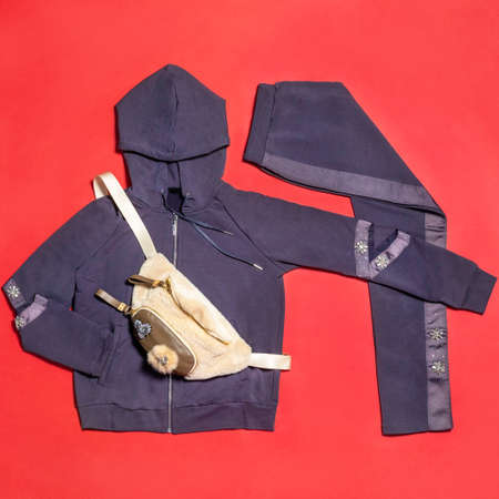 Blue woman hood jacket with a pants isolated 免版税图像 - 156279523