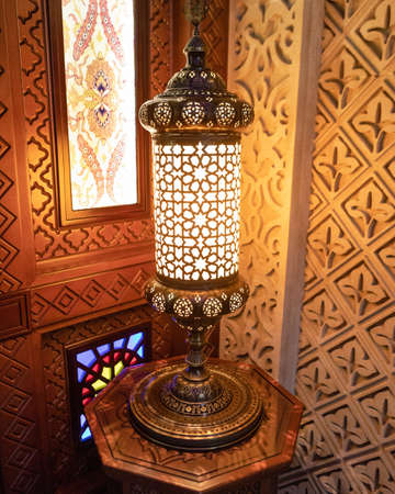 Arabic lantern in the interior, Ramadan background