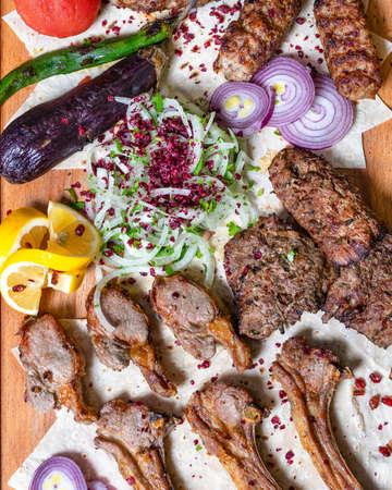 Lyulya kebab, sheep meat meal top view 免版税图像