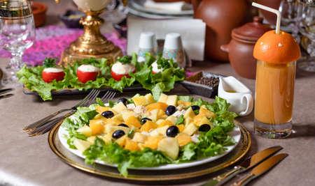 Tasty pumpkin salad on the table close up 免版税图像