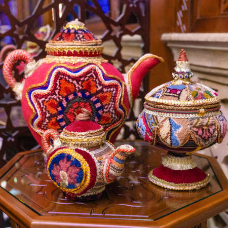 Arabic old style patterned teapot close up