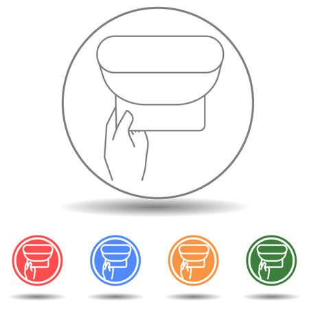 Wipe skin paper tissue. Wash hand. Personal hygiene. White napkin machine vector icon 矢量图像