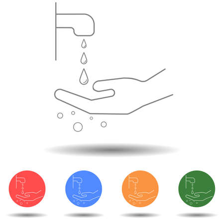 Hand wash with water vector icon isolated background 矢量图像