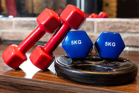 Red and blue dumbbell close up