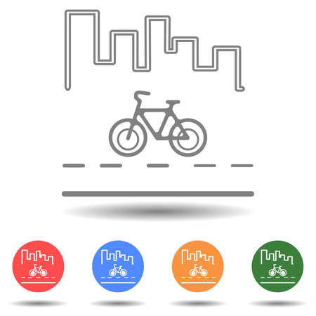 Bicycle on the road with city view vector icon