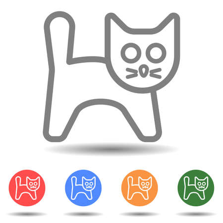 Isolated linear cat standing icon vector