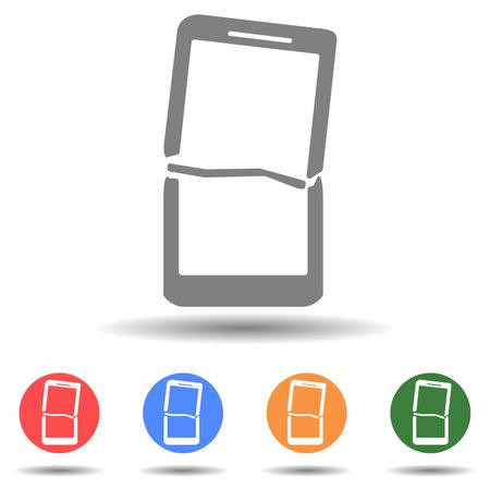 Broken screen smartphone tablet vector icon