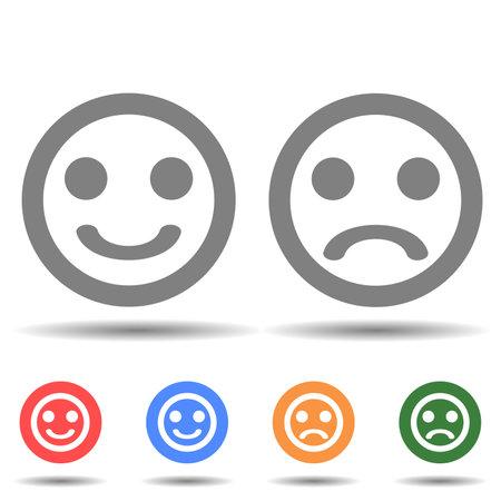Happy and sad emoji faces line art vector icon