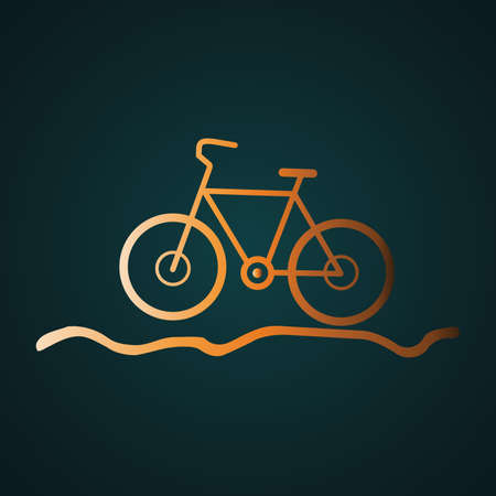 Bicycle for the off-road icon vector logo. Gradient gold concept with dark background