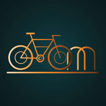 Bicycle parking icon vector. Gradient gold concept with dark background